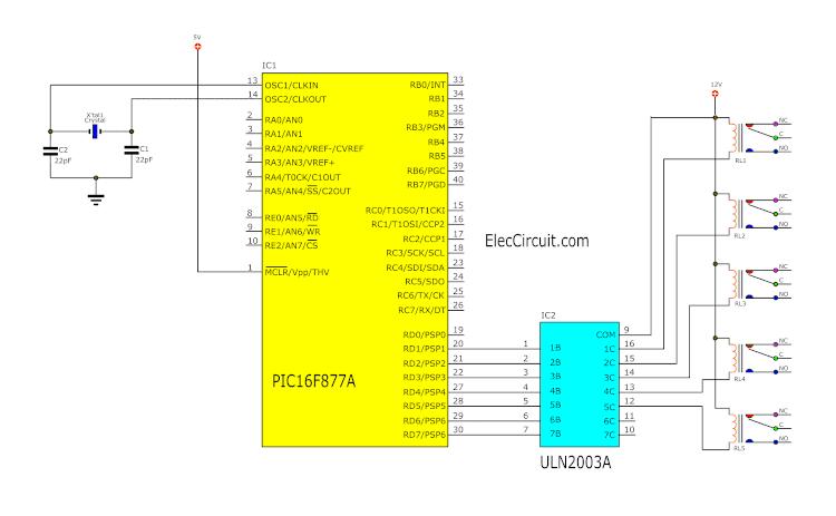 PIC Microcontroller 5 Relay Driver circuit using ULN2003