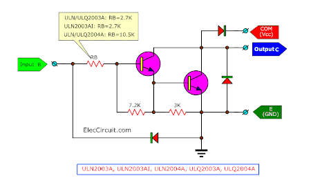ULN2003 internal circuit and Pin Configuration