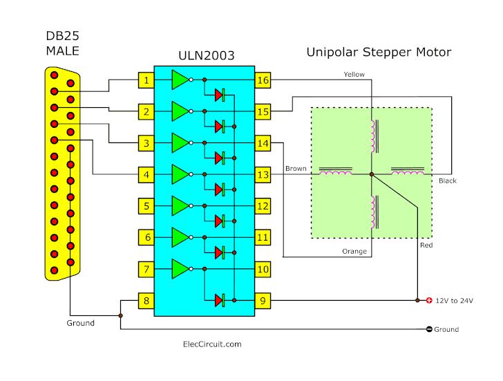 ULN2003 Stepper motor driver using parallel port