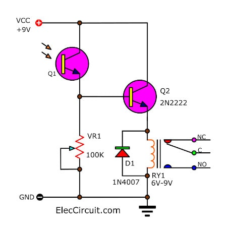 Light Actuated Relay Circuits by Photo Transistor ElecCircuitcom