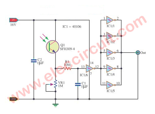 Mini Phototransistor light switch controller circuit