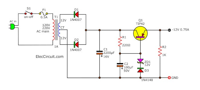 9V-12.6V Negative Voltage Regulator using PNP Emitter Follower