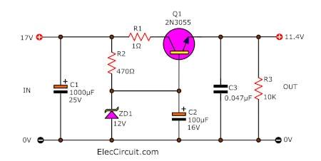 Simple Voltage Regulator Using 2n3055 Eleccircuit Com