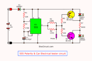 555 Polarity Car Electrical Probe tester circuit