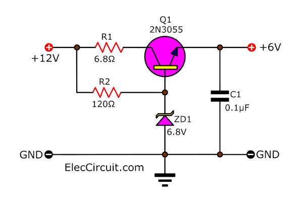 6V DC regulator using Zener transistor