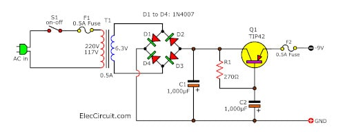 9V negative power supply circuit, low ripple