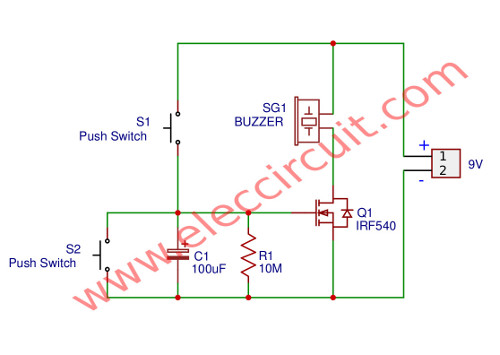 Simple time Delay Circuit using MOSFET | ElecCircuit com