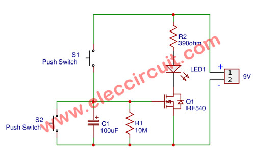 OFF-delay MOSFET with LED load