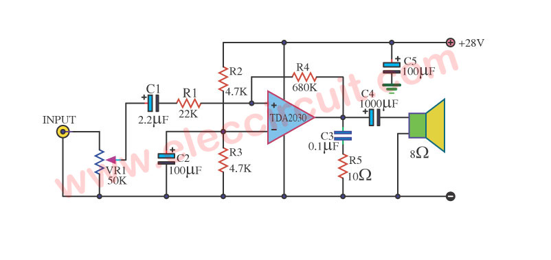 multi purpose amplifier using tda2030 circuit rh eleccircuit com Audio Amplifier Circuit Diagram Circuit Board Components and Their Functions