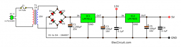 12V 5V Power supply circuit for digital CMOS and TTL