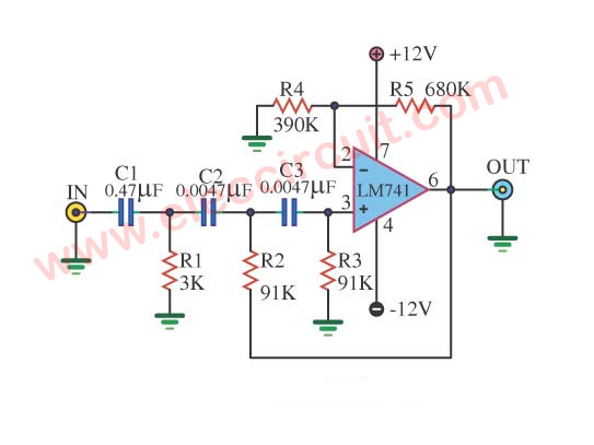 Active High Pass Filter Circuit using LM741
