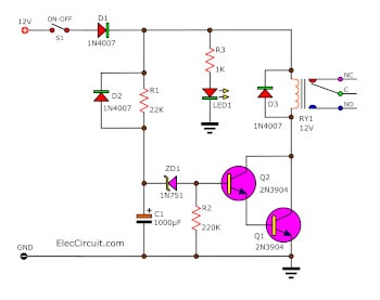 10 second delay timer circuit by transistor eleccircuit com rh eleccircuit com time delay off circuit diagram 555 time delay circuit diagram