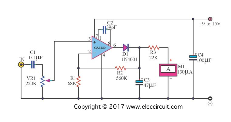 analog vu meter schematic electronic projects circuits rh eleccircuit com VU Meter Face LM3914 VU Meter
