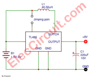 Small  3V, 1.5V to 9V step up dc converter using TL496