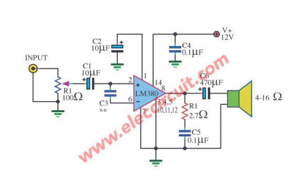 Small IC Amplifier 2 watt using LM380