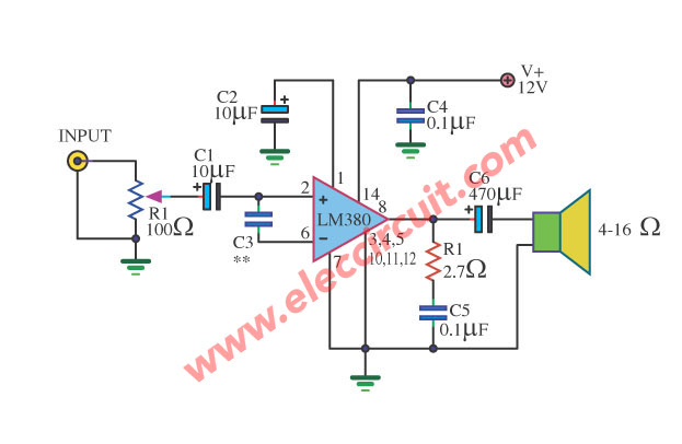 Mini audio amplifier circuit