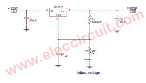 Low noise variable power supply using LM317,1.25V to 10VDC