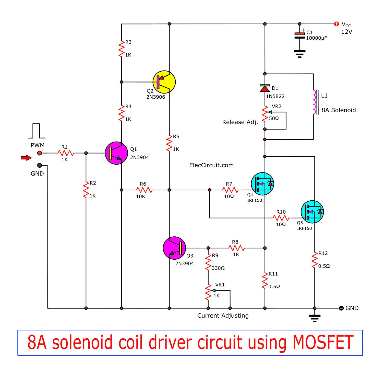 8a Solenoid Coil Driver Circuit Using Mosfet Eleccircuit Com