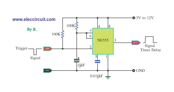 One ndash Shot Timer use IC NE555 circuit Electronic