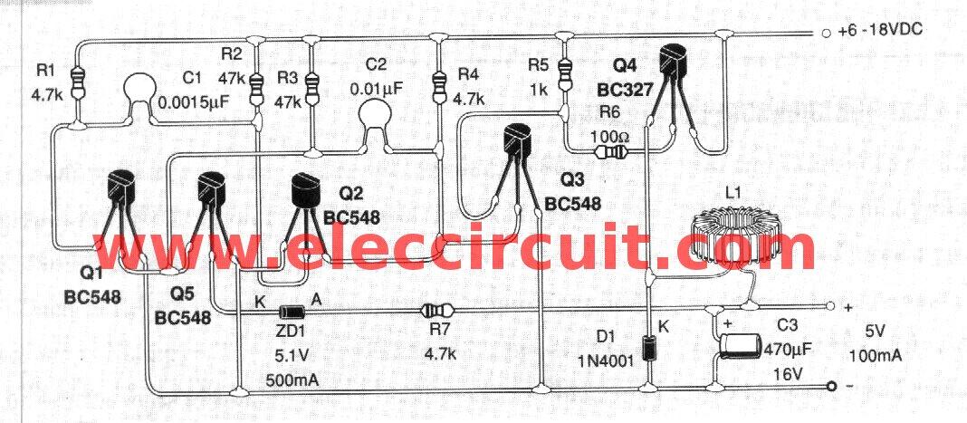 5v switching regulator circuit using transistor eleccircuit rh eleccircuit com