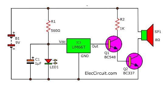 Melody Maker Circuit Diagram.Melody Generator Circuit By Ic Um66t Eleccircuit Com