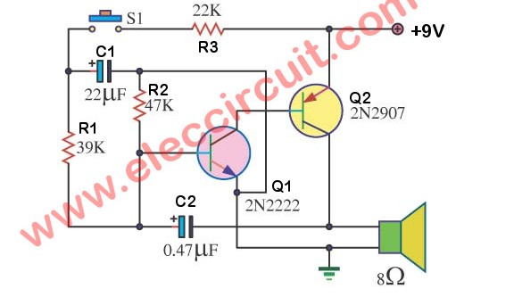 Simple siren circuit diagram using 2N2907 Transistor
