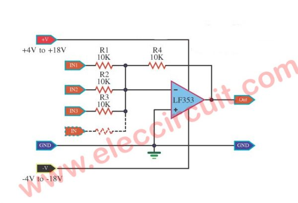 FET-Op-Amp-Microphone-Mixer-using-LF353