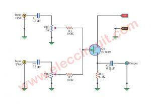 Simple Audio Mixer Circuit  using  2N3819 FET