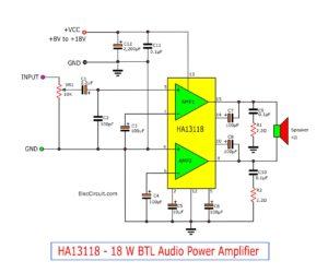 18W Bridge Amplifier Circuit using HA13118