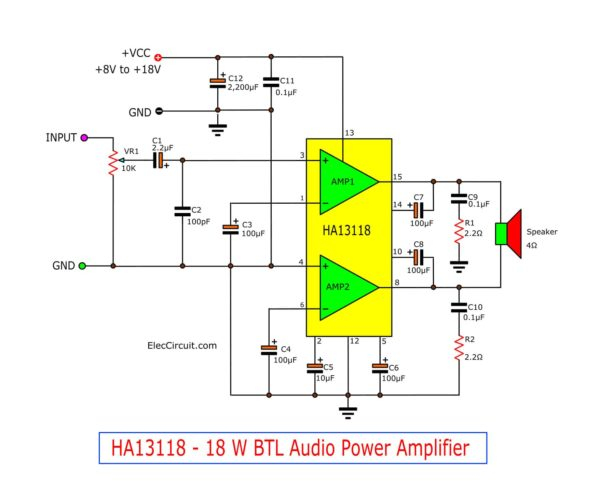 HA13118 18W Bridge Amplifier circuit