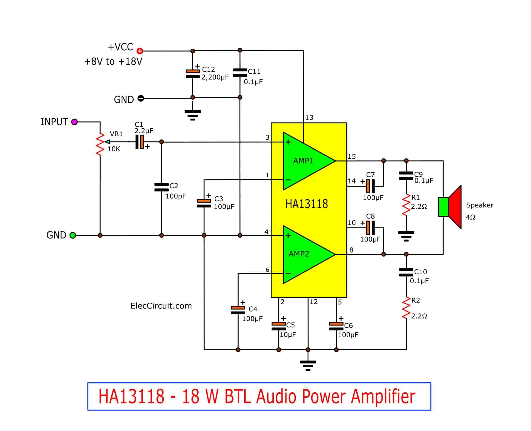 HA13118 – 18 W BTL Audio Power Amplifier