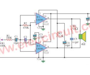 LM380-6W Bridge Power Amplifier Circuit