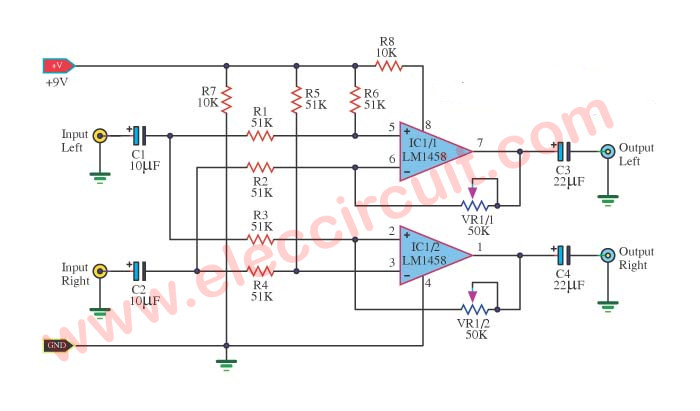 cheap surround sound system circuit diagram electronic projects stereo surround ic lm1458