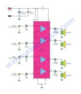 4 Channel Home Audio Amplifier 11 watt using IC TDA1554