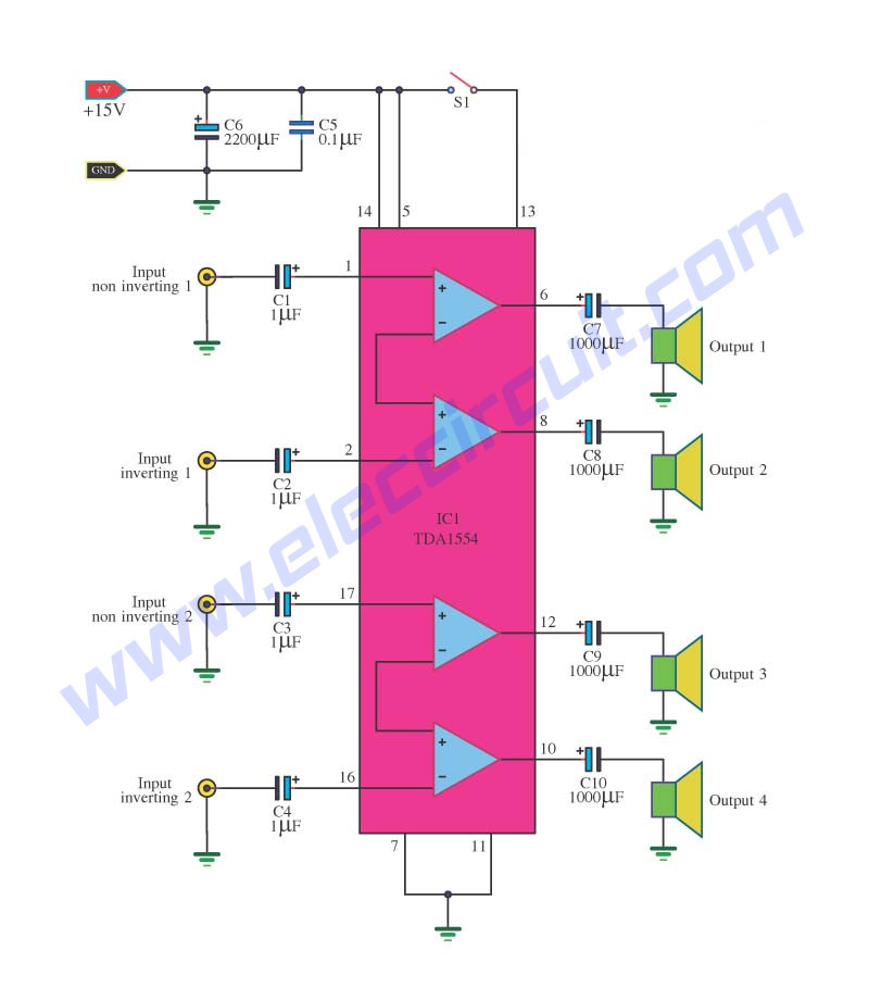 cheap surround sound system circuit diagram electronic projects analog signal selector switch · tda1554 audio amplifier circuits
