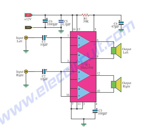 22W+22W Stereo Power Amplifier with Single Chip IC using TDA1554