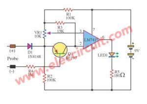 Simplest voltmeter circuit diagram using IC-741