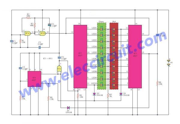 20 LED Running Light circuit