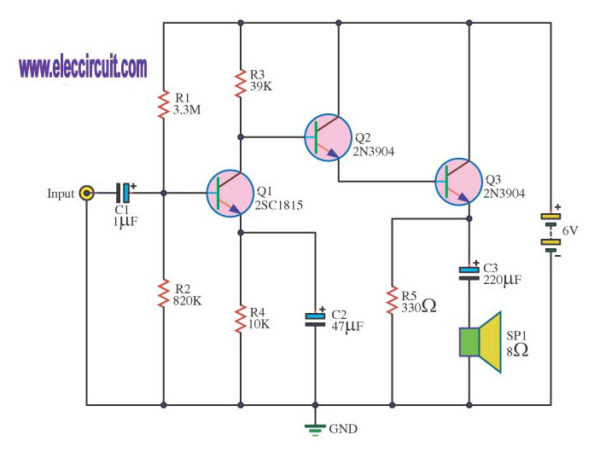 Three transistors Amplifier circuits