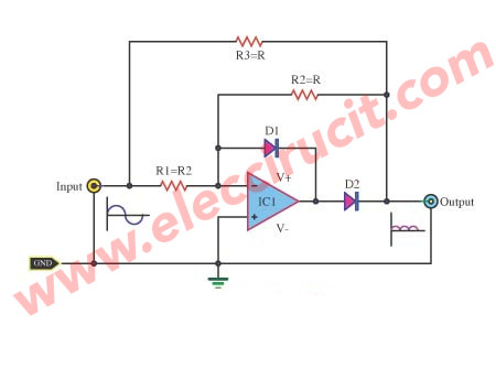 Full Wave Rectifier With An Op Amp Ic Electronic