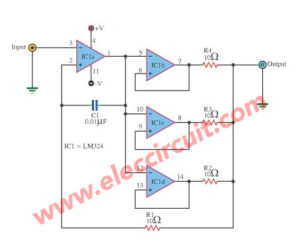 Increase output current of the op-amp IC LM324 in 85mA size