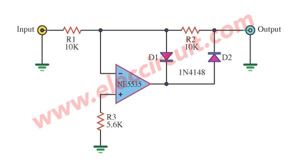 Full Wave Rectifier With An Op Amp Ic Eleccircuit Com