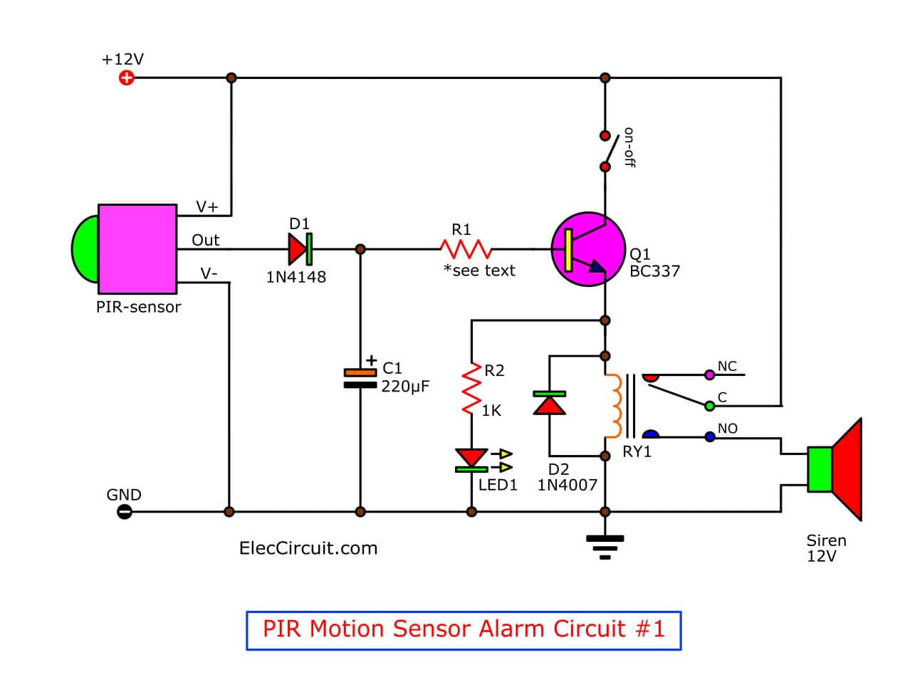 motion detector alarm circuit with pir sensor simple and cheap