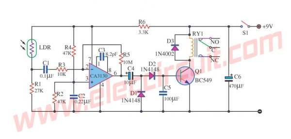 Light Change Detector Circuit using CA3130