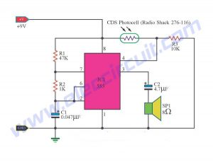 Light Detector Circuits using IC-555-timer
