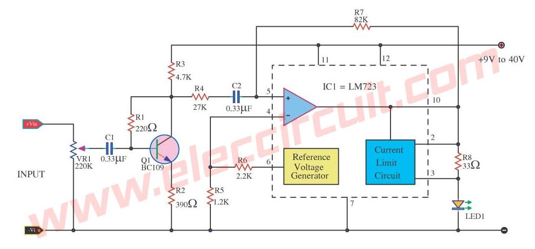 Simple Peak Level Indicator Circuit Using Lm723