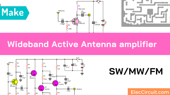 Wide band Active Antenna amplifier in SW_MW_FM bands