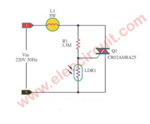 Automatic light dimmer circuit