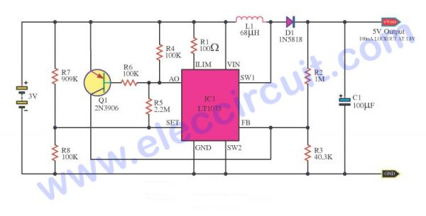 3V to 5V step-up converter with under voltage lockout