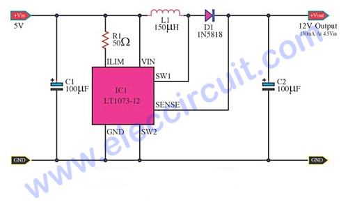 5V to 12V step-up converter circuit
